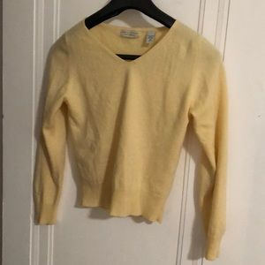 Yellow LORD & TAYLOR Cashmere Long Sleeve Sweater